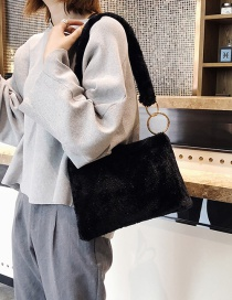 Fashion Black Plush Metal Ring Shoulder Bag