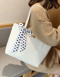 Fashion White Rhombus Polka Dot Bow Shoulder Bag