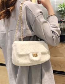 Fashion Creamy-white Plush Chain And Chain Shoulder Bag