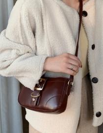 Fashion Dark Brown Locked Crossbody Shoulder Bag