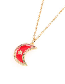 Fashion Red Star Moon Diamond Drop Oil Necklace