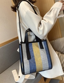 Fashion Yellow Striped Woolen Contrast Shoulder Bag