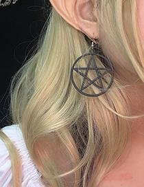 Fashion Pentagram Black 1670 Star Hollow Ring Geometric Stud Earrings