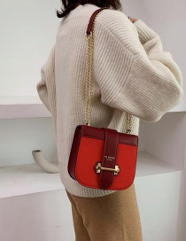 Fashion Red Frosted Chain Bronzing Shoulder Cross Body Bag