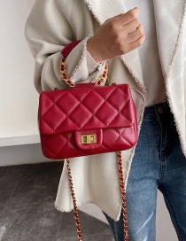 Fashion Red Wine Chain Rhombus Embroidered Shoulder Bag