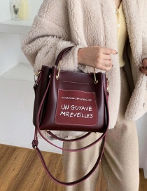 Fashion Red Wine Letter Frosted Panel Bag