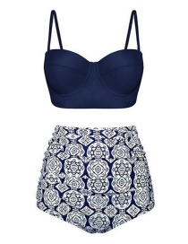 Fashion Navy High-waist Printed Pleated Split Swimsuit