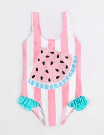 Fashion Pink Watermelon Print Fungus One-piece Swimsuit