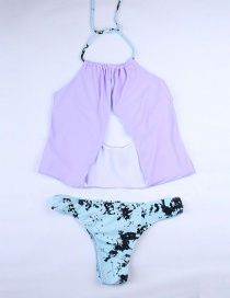 Fashion Purple Sleeve Print Pleated Split Swimsuit