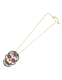 Fashion Color Rice Beads Woven Skull Necklace