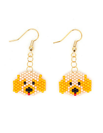 Fashion Yellow Puppy Rice Beads Woven Earrings