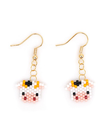 Fashion White Dairy Cow Pearl Beaded Earrings