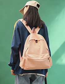 Fashion Pink Canvas Panel Backpack
