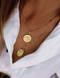 Fashion Golden Portrait Disc With Multiple Eyes Necklace