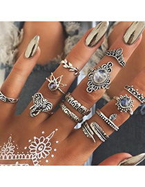 Fashion Silver Elephant Feather Crown Leaf Glass Bead Rings Set