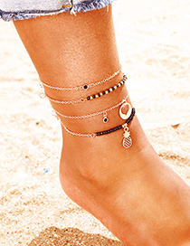 Fashion Black Hollow Love Pineapple Anklet Set