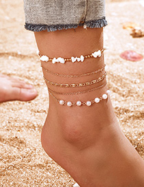 Fashion White Pearl Rubble Gold Bead Anklet Set