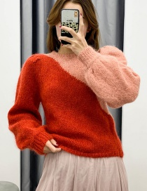 Fashion Red + Pink Colorblock Knitted Sweater