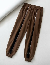 Fashion Brown Elasticated Waist Zip Contrast Color Trousers
