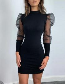 Fashion Black Sheer Mesh Sleeve Round Neck Patchwork Dress