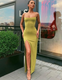 Fashion Yellow Slit-neck Open-back Split Dress
