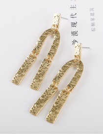 Fashion Golden Metal U-shaped Uneven Surface Earrings