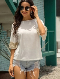 Fashion White Sequined Crew Neck T-shirt