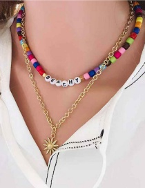 Fashion Golden Acrylic Beaded Sunflower Alloy Necklace