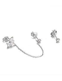Fashion Silver 925 Silver Ear Studs With Asymmetric Geometry And Diamonds