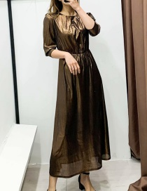 Fashion Golden Brown Metal Fluffy Cropped Sleeve Dress