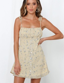 Fashion Yellow Flower Print Camisole Dress