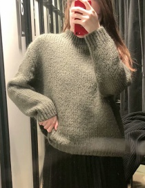 Fashion Green Round Neck Pullover Knit Sweater