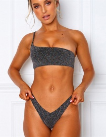 Fashion Gray One-shoulder Split Swimsuit With Filigree Chest Pads
