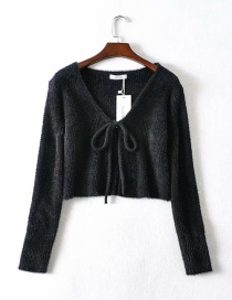 Fashion Black Mink Lace-up Knitted Sweater Cardigan