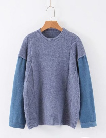 Fashion Blue Denim Patchwork Knitted Sweater