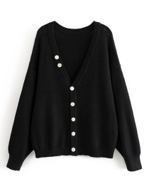 Fashion Black Irregular Multi-button Knitted V-neck Sweater Cardigan