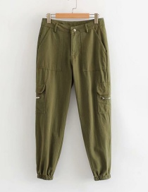 Fashion Army Green Pocket Zip Overalls