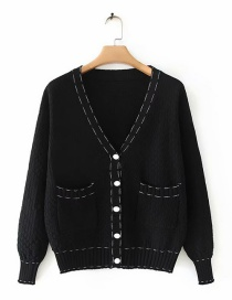Fashion Black Knitted V-neck Single-breasted Cardigan Sweater