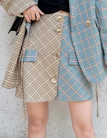 Fashion Yellow + Blue Plaid Contrast Printed Single-breasted Skirt