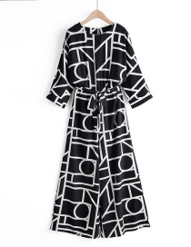 Fashion Black Abstract Geometric Print Jumpsuit