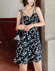 Fashion Black Little Daisy Floral Camisole Dress