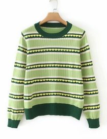 Fashion Green Peach Heart Striped Round Neck Knit Sweater