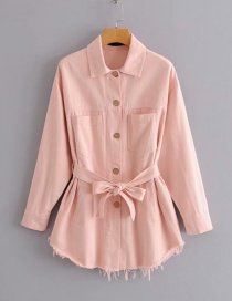 Fashion Pink Belted Lapel Single-breasted Frayed Coat