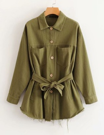 Fashion Army Green Belted Lapel Single-breasted Frayed Coat