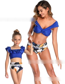 Fashion Tibetan Blue Cross Knotted Ball Trimmed Swimsuit For Children