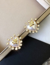 Fashion Main Picture (real Gold Color) Love Bee Earrings With Pearls And Diamonds