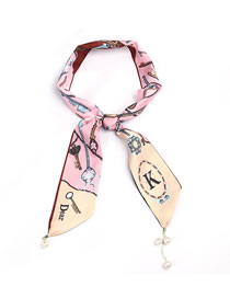 Fashion Zps24-2 Contrast Printed Letter Pearl Scarf