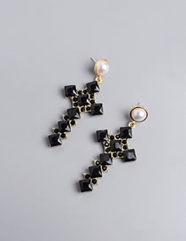Fashion Black Cross Earrings With Pearl And Diamonds