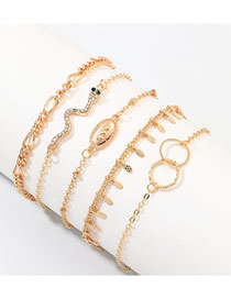 Fashion Golden Serpentine Double Ring Geometric Diamond Bracelet Set