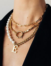 Fashion Golden Letter Ring Multilayer Pearl Necklace